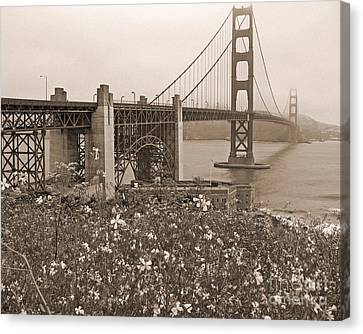 Sausalito Canvas Print - Golden Gate Bridge And Summer Flowers In Sepia by Connie Fox