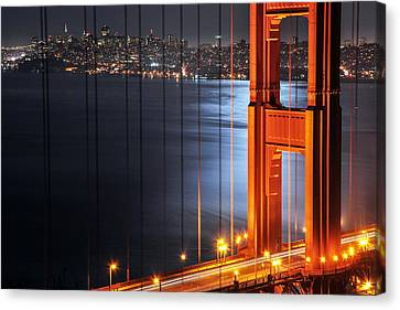 Golden Gate Bridge And Supermoon Canvas Print