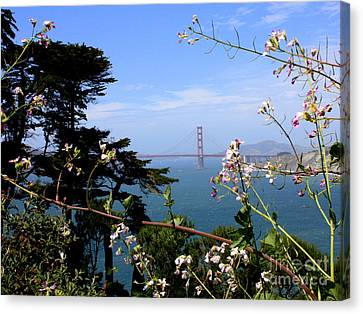 Golden Gate Bridge And Wildflowers Canvas Print by Carol Groenen