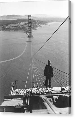 Depth Of Field Canvas Print - Golden Gate Bridge Cables by Underwood Archives
