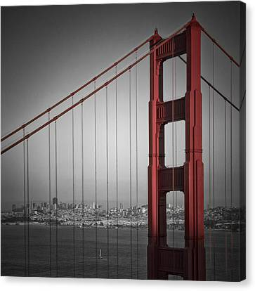 Golden Gate Bridge - Downtown View Canvas Print by Melanie Viola
