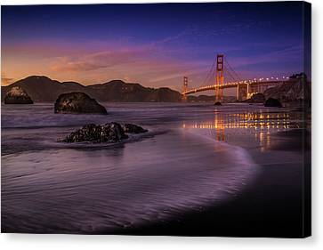 Golden Gate Bridge Fading Daylight Canvas Print by Mike Leske