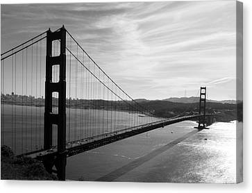 Golden Gate Bridge In Black And White Canvas Print by Frank Bright