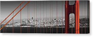 Golden Gate Bridge Panoramic Downtown View Canvas Print by Melanie Viola