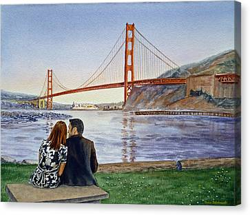 Golden Gate Bridge San Francisco - Two Love Birds Canvas Print by Irina Sztukowski