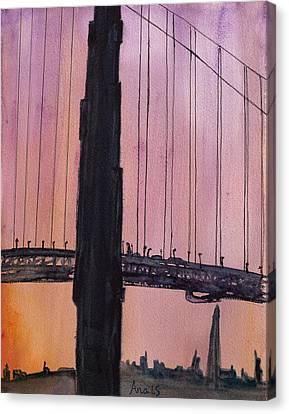 Golden Gate Bridge Tower Canvas Print by Anais DelaVega
