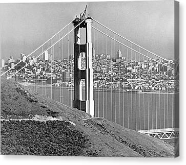 Golden Gate Bridge Tower Canvas Print by Underwood Archives