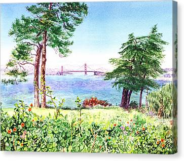 Golden Gate Bridge View From Lincoln Park San Francisco Canvas Print by Irina Sztukowski