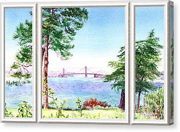 Golden Gate Bridge View Window Canvas Print by Irina Sztukowski