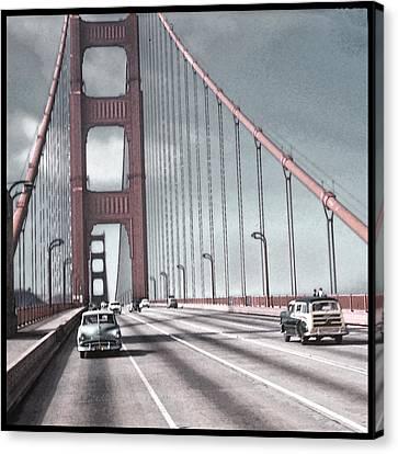 Golden Gate Crossing Canvas Print by Eric  Bjerke Sr