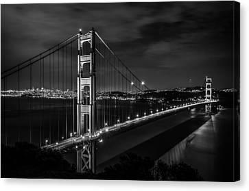 Golden Gate Evening- Mono Canvas Print by Linda Villers