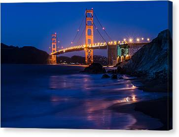 Golden Gate Glow Canvas Print by Linda Villers