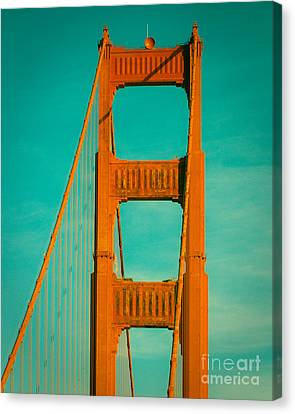 Golden Gate In Turquoise Canvas Print by Sonja Quintero