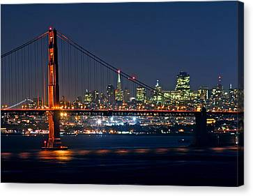 Canvas Print featuring the photograph Golden Gate Night 10-26-10 by Christopher McKenzie