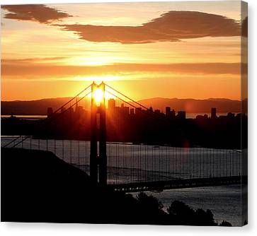 Canvas Print featuring the photograph Golden Gate Sunrise 12-2-11 by Christopher McKenzie