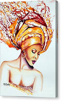 Canvas Print featuring the painting Golden Goddess by Maria Barry