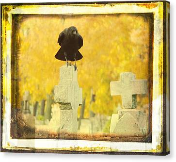 Birds In Graveyard Canvas Print - Golden Gothic by Gothicrow Images