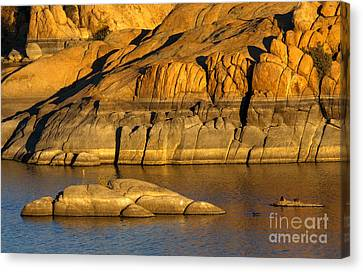 Golden Granite Glow Canvas Print by Mike  Dawson