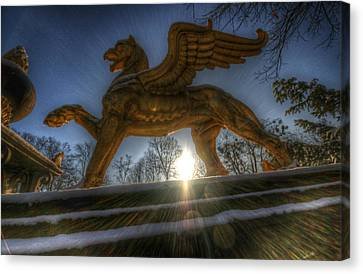 Gargoyle Lions Canvas Print - Golden Griffin by Nathan Wright