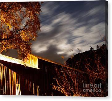 Golden Honeyrun Covered Bridge Canvas Print by Peter Piatt