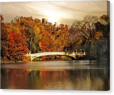 Golden Hour At Bow Bridge Canvas Print