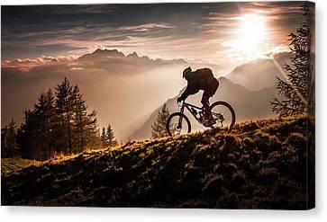 Downhill Canvas Print - Golden Hour Biking by Sandi Bertoncelj