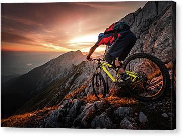 Downhill Canvas Print - Golden Hour High Alpine Ride by Sandi Bertoncelj