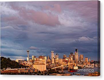 Golden Hour Reflected On Downtown Seattle And Space Needle - Seattle Washignton State Canvas Print by Silvio Ligutti