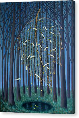Canvas Print featuring the painting Golden Leaf by Tone Aanderaa