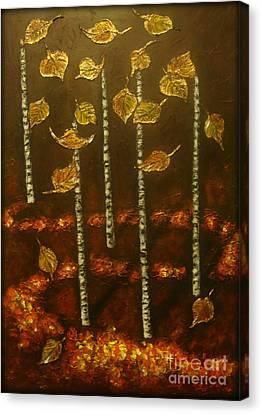 Golden Leaves 2 Canvas Print by Elena  Constantinescu