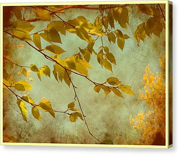 Canvas Print featuring the digital art Golden Leaves-2 by Nina Bradica