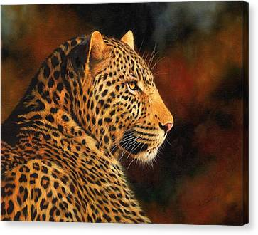 Golden Leopard Canvas Print by David Stribbling