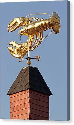 Golden Lobster Weathervane Canvas Print
