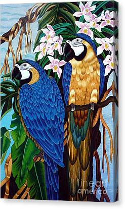 Golden Macaw Hand Embroidery Canvas Print by To-Tam Gerwe