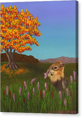 Canvas Print featuring the painting Golden Mantled Squirrel by Janet Greer Sammons