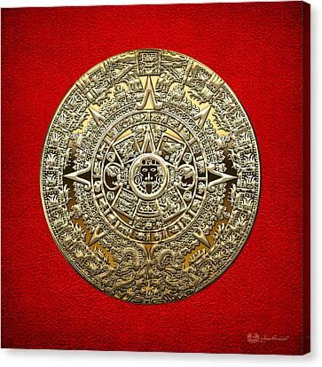 Mayan Mythology Canvas Print - Golden Mayan-aztec Calendar On Red by Serge Averbukh