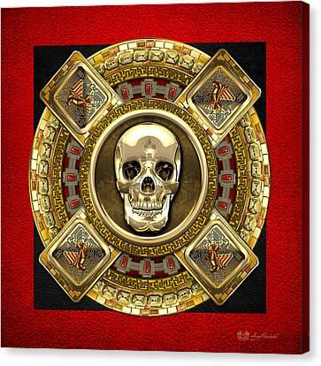 Mayan Mythology Canvas Print - Golden Mictlantecuhtli - Aztec God Of Death by Serge Averbukh
