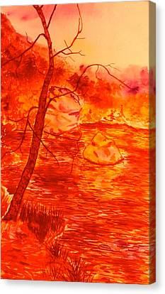 Golden Mountain Lake Morning  Canvas Print