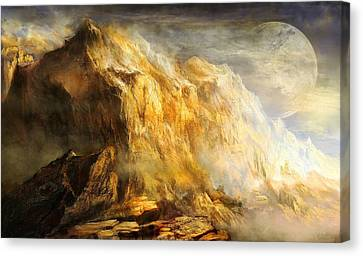 Golden Mountains Of An Alien Earth Canvas Print by Ernest Tang