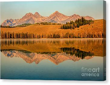 Golden Mountains  Reflection Canvas Print