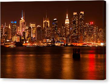 D700 Canvas Print - Golden New York Skyline by Mitchell R Grosky