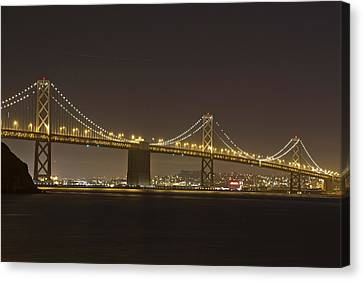 Golden Night On The Bay Canvas Print by Miguel  Uribe