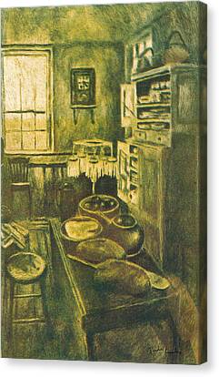 Golden Old Fashioned Kitchen Canvas Print by Kendall Kessler