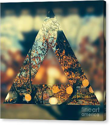 Golden Orange Fall Triangle Canvas Print by Beverly Claire Kaiya