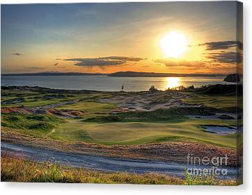 Canvas Print featuring the photograph Golden Orb - Chambers Bay Golf Course by Chris Anderson