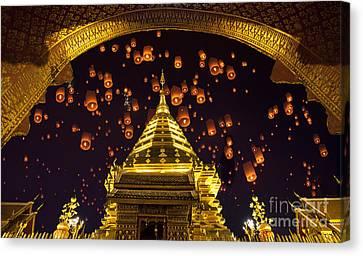 Golden Pagoda And Yeepeng  Canvas Print by Anek Suwannaphoom