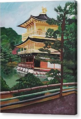 Bamboo House Canvas Print - Golden Pavilion by Michelle Erin Dominado
