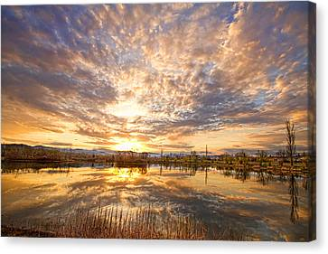Golden Ponds Scenic Sunset Reflections 2 Canvas Print