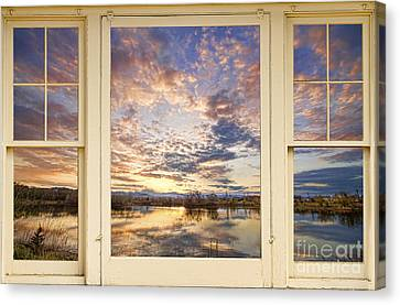 Golden Ponds Scenic Sunset Reflections 4 Yellow Window View Canvas Print by James BO  Insogna