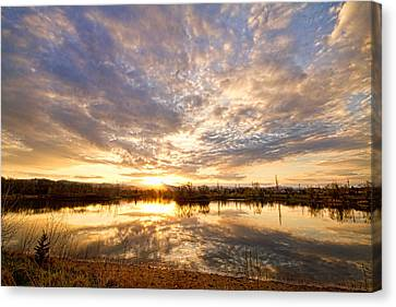 Golden Ponds Scenic Sunset Reflections Canvas Print by James BO  Insogna